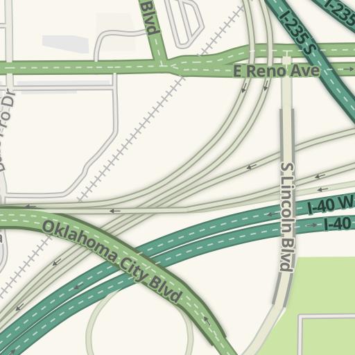 Waze Livemap - Driving Directions to Warren Spahn Parking Lot - OKC on