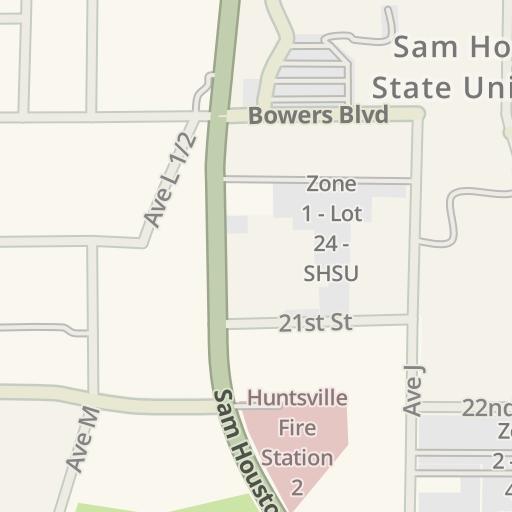 Waze Livemap Driving Directions To Sam Houston State University