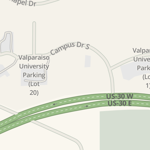 Valparaiso Campus Map.Waze Livemap Driving Directions To Valparaiso University Parking