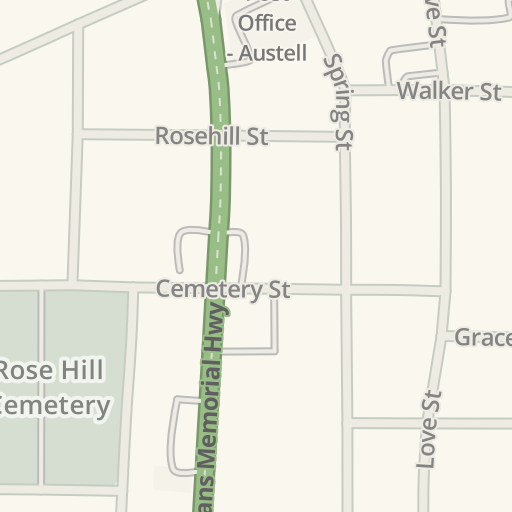 Waze Livemap Driving Directions To Rose Hill Cemetery Austell