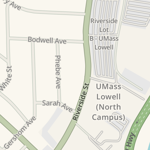Waze Livemap Driving Directions To Umass Lowell North Campus